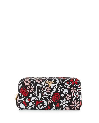 Debossed Floral Zip-Around Wallet, Black/Multi