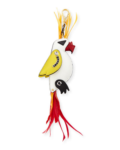 Parrot Leather & Feather Charm, White/Multi