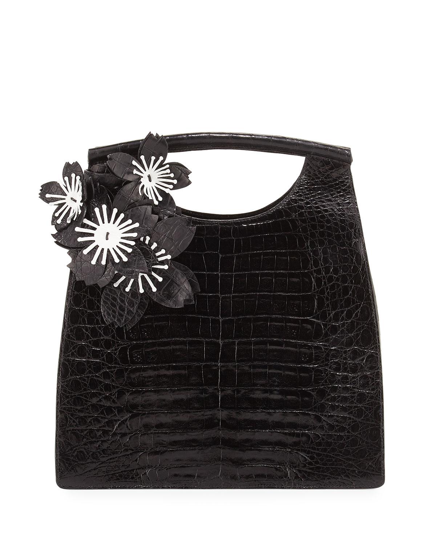Crocodile Medium Floral Top-Handle Tote Bag, Black