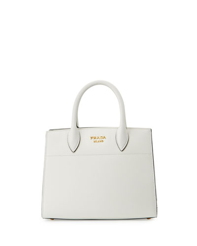 Bibliothèque Small Saffiano Tote Bag, White/Black (Bianco+Nero)