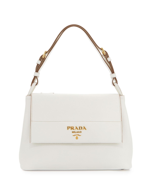 Vitello Daino Shoulder Bag, White (Bianco)