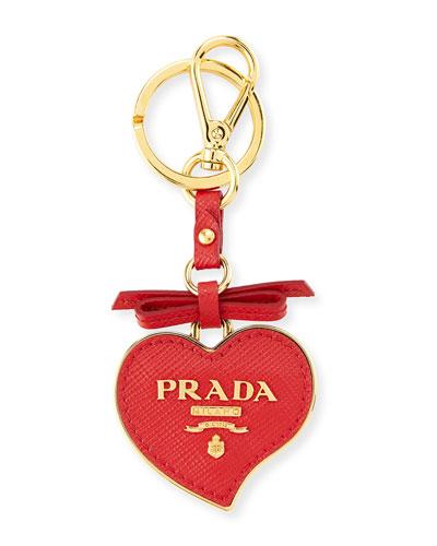 Saffiano Heart Charm, Red (Rosso)