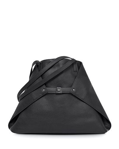 Ai Medium Leather Shoulder Bag, Black