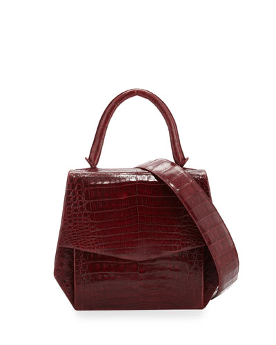 Crocodile Medium Structured Top-Handle Bag, Red Shiny