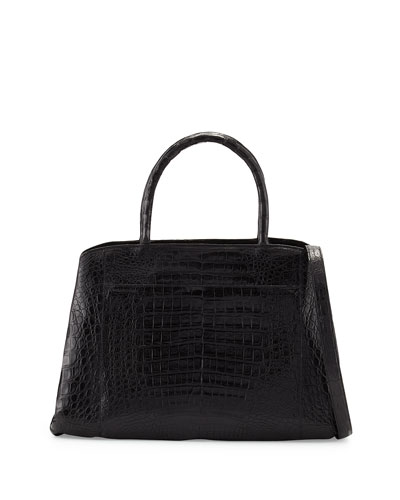 Crocodile Large Center-Zip Tote Bag, Gray Matte