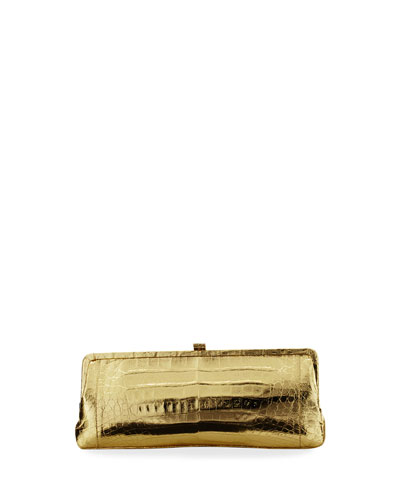 Crocodile Slim Frame Clutch Bag, Gold Mirror