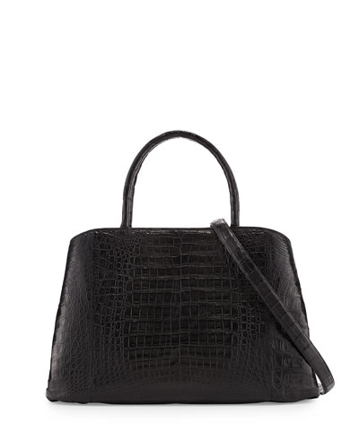 Crocodile Large Center-Zip Tote Bag, Black Matte