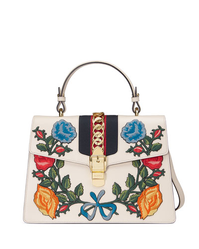 Sylvie Embroidered Leather Top-Handle Satchel Bag, White/Multi