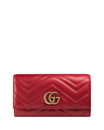 GG Marmont 2.0 Medium Quilted Flap Wallet, Red