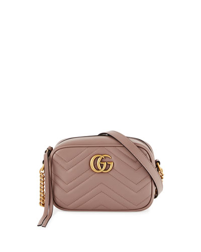 GG Marmont Mini Matelassé Camera Bag, Nude