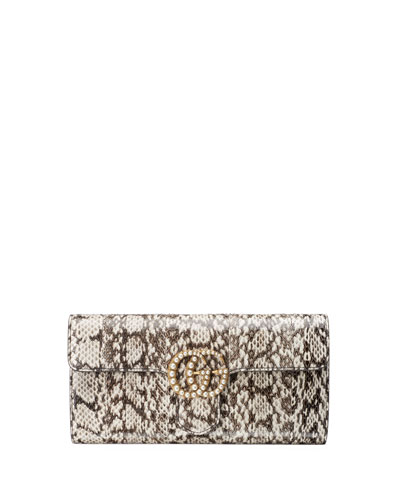 GG Marmont Pearly Snakeskin Clutch Bag, Natural