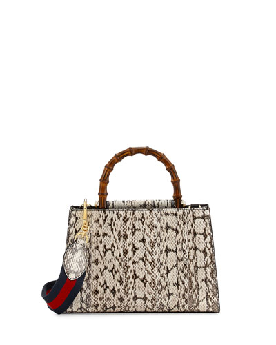Nymphea Small Bamboo-Handle Snakeskin Tote Bag, Black/White