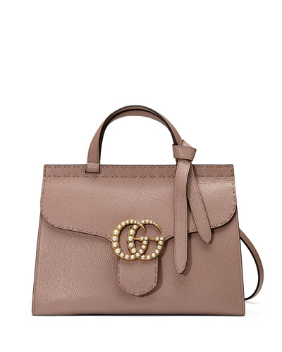 GG Marmont Small Pearly Top-Handle Satchel Bag, Nude