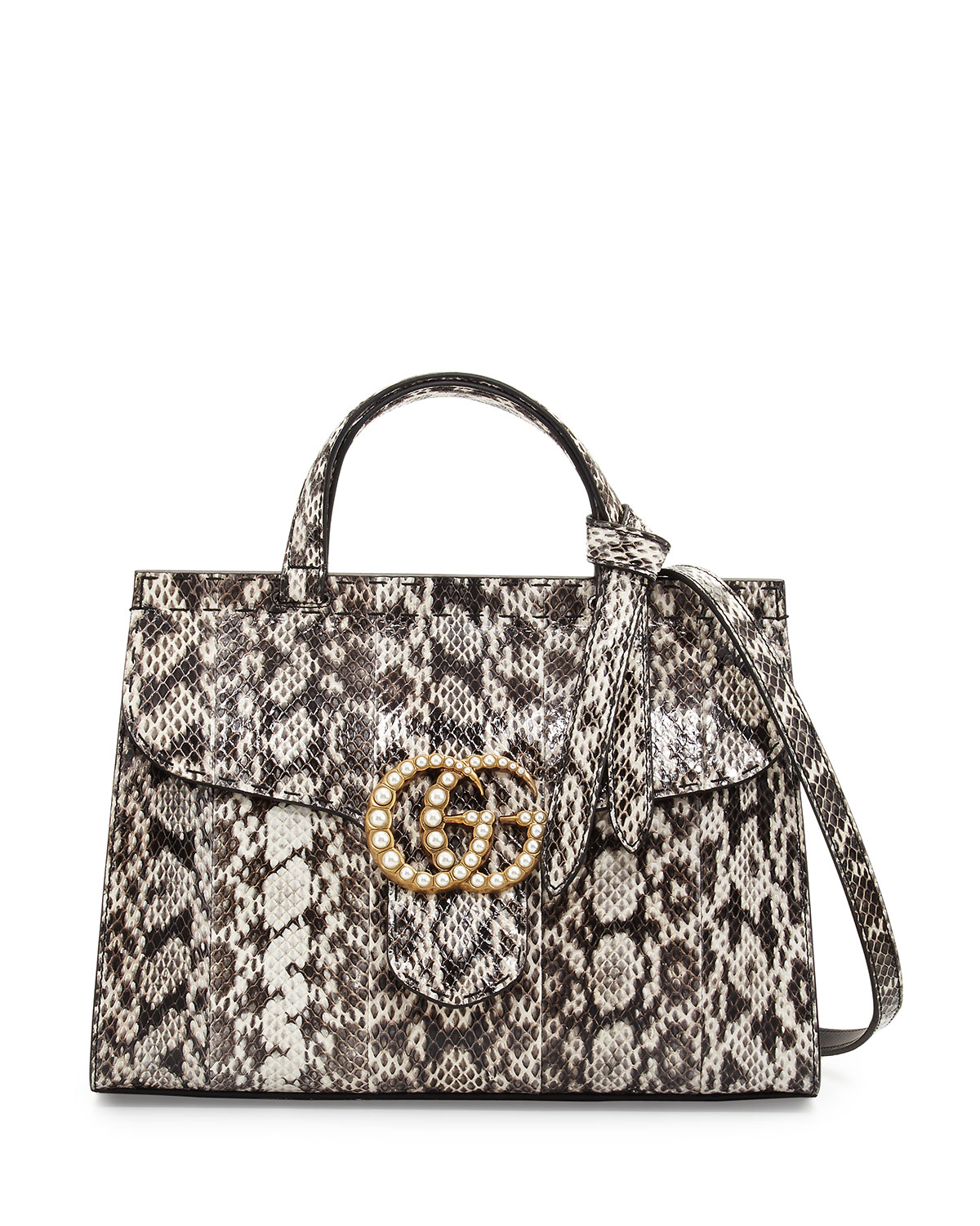 GG Marmont Small Pearly Snakeskin Top-Handle Satchel Bag, Natural