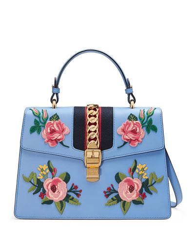 Sylvie Embroidered Leather Top-Handle Satchel Bag, Light Blue/Multi