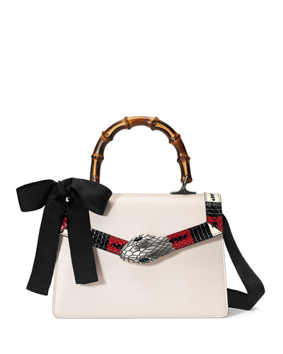 Lilith Leather Top-Handle Satchel Bag, White/Red/Black