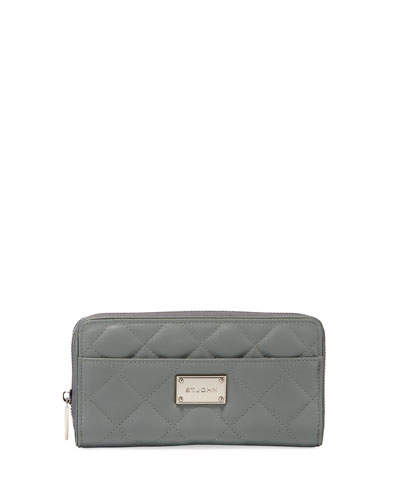 Quilted Leather Zip-Up Wallet, Gray