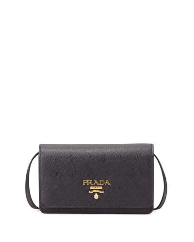 Half-Flap Mini Crossbody Bag, Black (Nero)