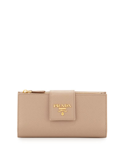 Large Saffiano Logo-Tab Wallet, Cameo Beige