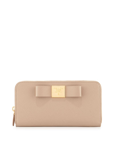 Bow Saffiano Continental Wallet, Cameo