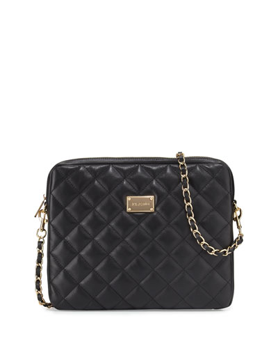 Quilted Napa Leather Crossbody Bag, Black/Gold