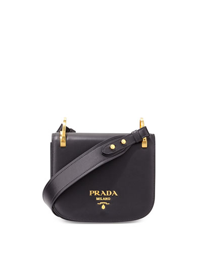 Pionnière Leather Shoulder Bag, Black (Nero)