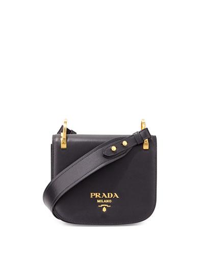 Pionnière Leather Shoulder Bag, Black (Nero)