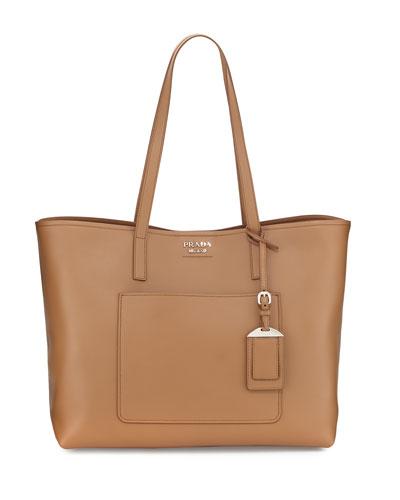Soft Leather Shopper Tote Bag, Black (Nero)
