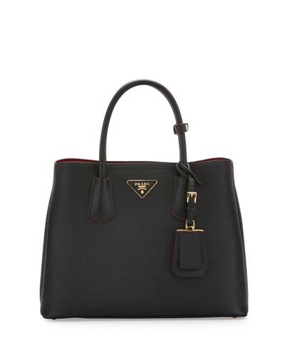 Saffiano Cuir Double Medium Tote Bag, Black/Red (Nero+Ciliegia)
