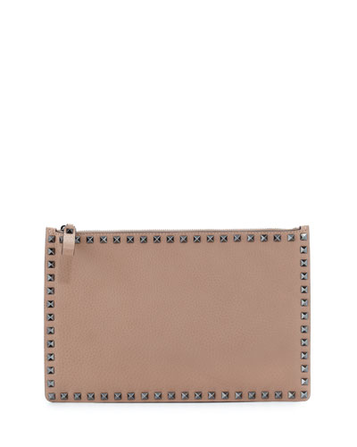 Rockstud Large Leather Pouch Bag, Beige