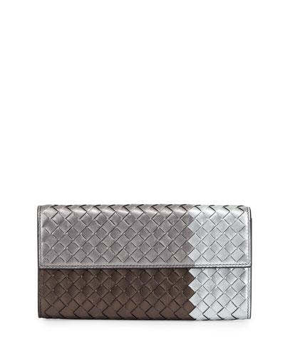Intrecciato Flap Continental Wallet, Silver/Bronze