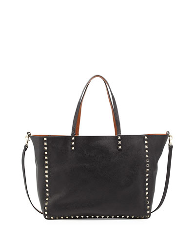 Medium Double Rockstud Reversible Tote Bag, Black/Tan