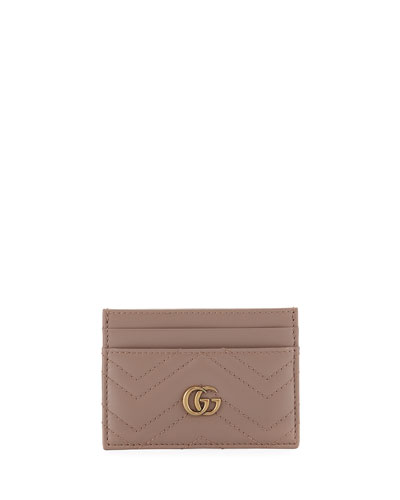 GG Marmont Matelassé Card Case, White
