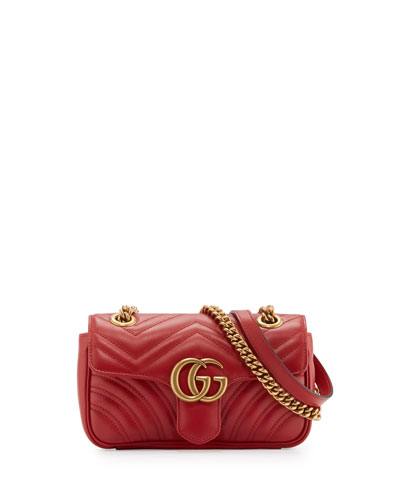 GG Marmont Matelassé Mini Bag, Red