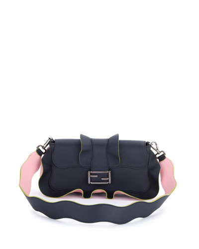 Baguette Wave Leather Bag, Blue/Pink