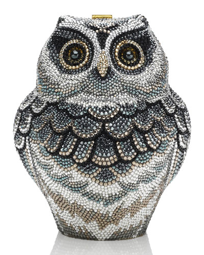 Wisdom Owl Evening Clutch Bag, Black