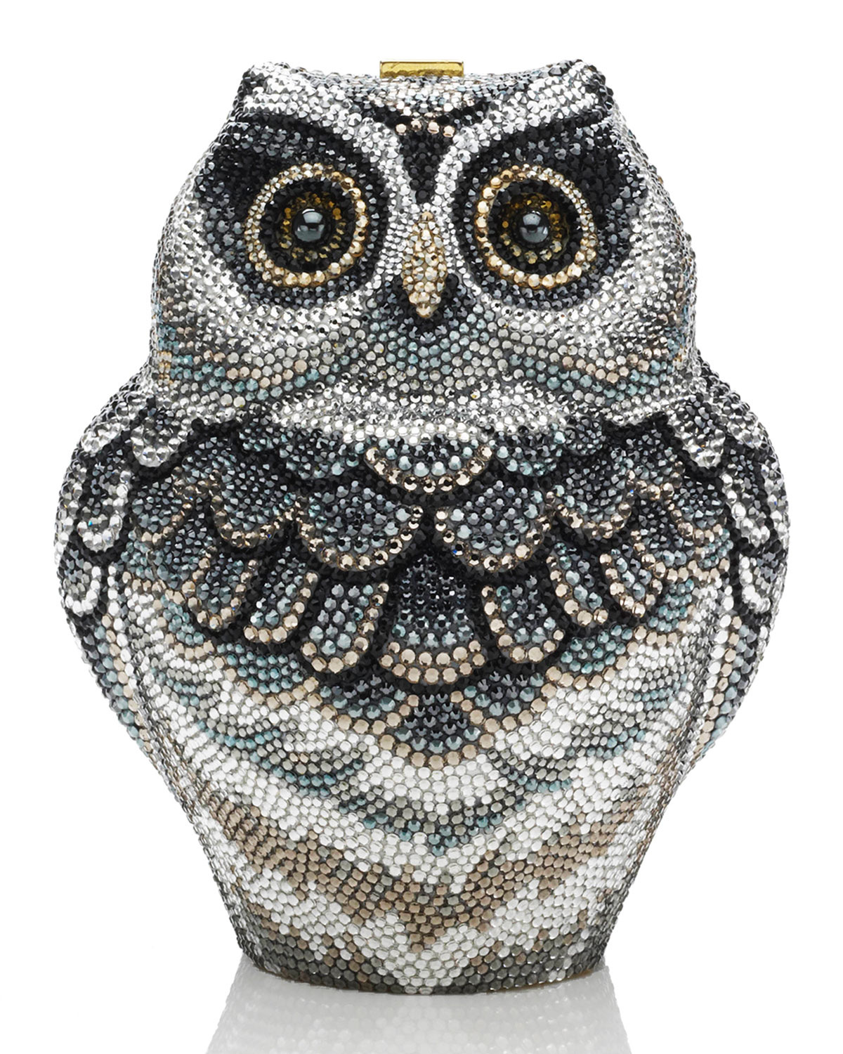 Wisdom Owl Evening Clutch Bag, Black