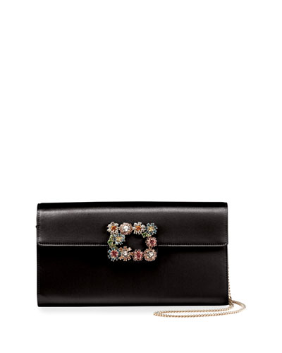 Floral Crystal-Buckle Clutch Bag, Black/Multi