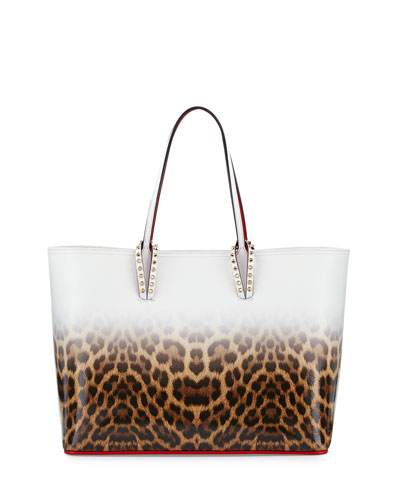 Cabata East-West Leather Leopard-Print Tote Bag, Multicolor