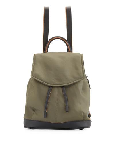 Pilot Mini Leather-Trim Nylon Backpack, Olive