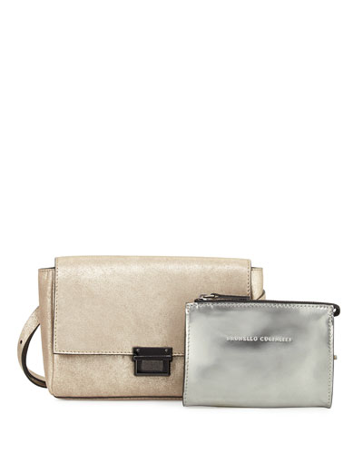 Metallic Leather Double-Pouch Belt Bag, Gray