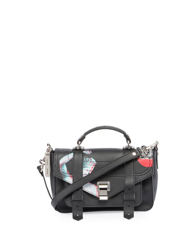 PS1 Tiny Printed Leather Satchel Bag, Black
