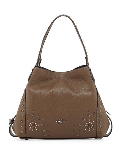 Edie 31 Western-Rivets Shoulder Bag, Brown