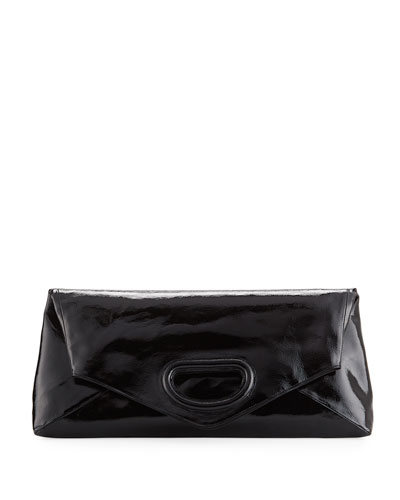Oversize Fold-Over Patent Clutch Bag