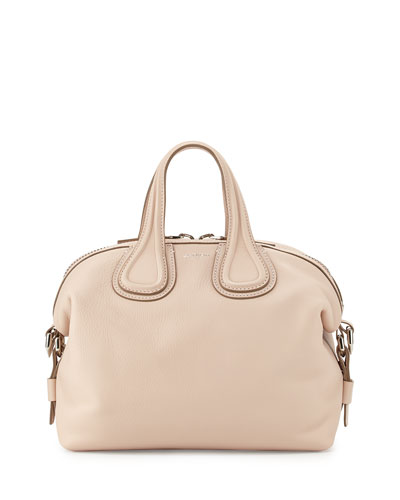 Nightingale Small Waxy Leather Satchel Bag, Nude Pink