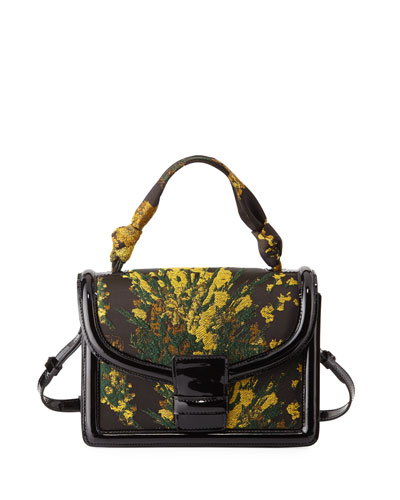 Floral Brocade Top-Handle Bag, Yellow