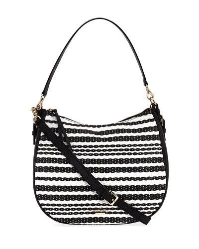 cobble hill mylie straw shoulder bag, black/cement