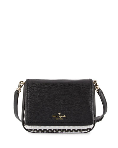 cobble hill abela straw crossbody bag, black/cement