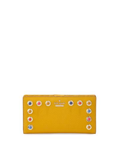 devoe street stacy leather wallet, yellow