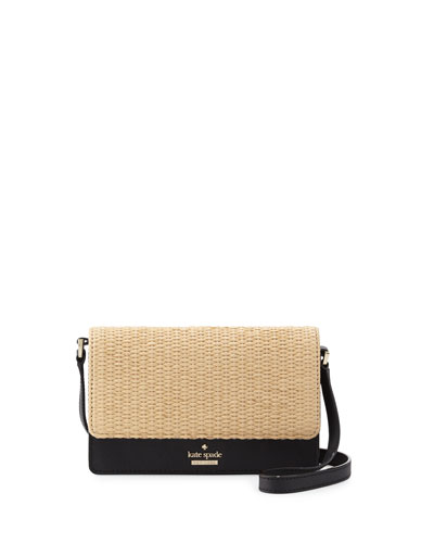 cameron street arielle straw crossbody bag, black/natural